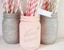 Painted Mason Jar- Blush Pink and Silver glitter mason jar- Pink Bridal Shower Decor- Pink wedding Decor- Pink and Silver Baby Shower