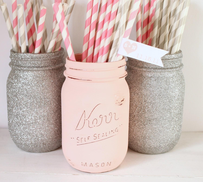 Painted Mason Jar Blush Pink and Silver glitter mason jar