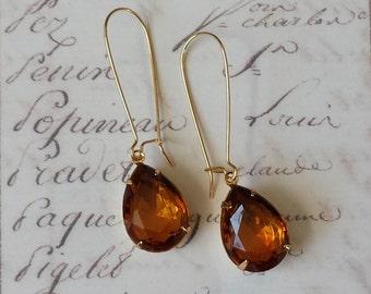 Topaz Teardrop Earrings, Topaz Rhinestone Earrings, Rhinestone Earrings, Teardrop Earrings, Topaz Earrings, Gift for Her