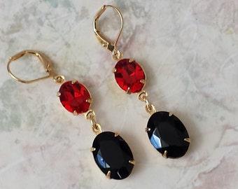 Black and Red Earrings, Vintage Inspired Earrings, Crystal Rhinestone Earrings, Swarovski Rhinestone Earrings, Victorian Earrings