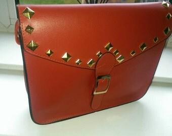Customised red Diamond studded Satchel bag