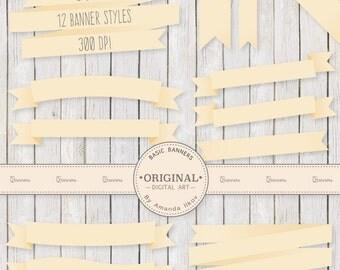 Professional Digital Ribbon Banners - Cream Banners, Cream Ribbon, Digital Banners, Scrapbook Banners, Banner Clip Art, Banner Vectors