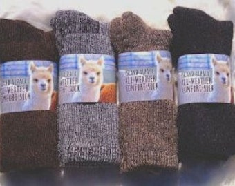 All Weather Alpaca Sock for Men/Women. Made in the USA by Our Local Fiber Co-Op. Great Winter Sock for Hiking, Outdoor Sport or Birthday!