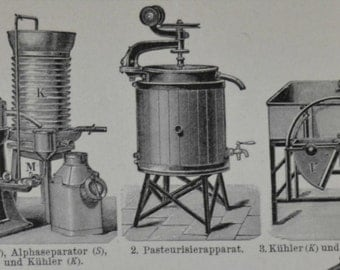 Butter production at the beginning of the 20th century print. 1901. Old book plate. 114 years  lithograph.9'6 x6'2 inches.