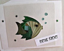 handmade all occasion or friendship iris fold   card – friends forever