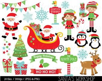 Christmas Clipart, Christmas Clip Art, Elf, Elves, Santa, Sleigh, Reindeer, Bunting, snowflake - Commercial & Personal - BUY 2 GET 1 FREE!