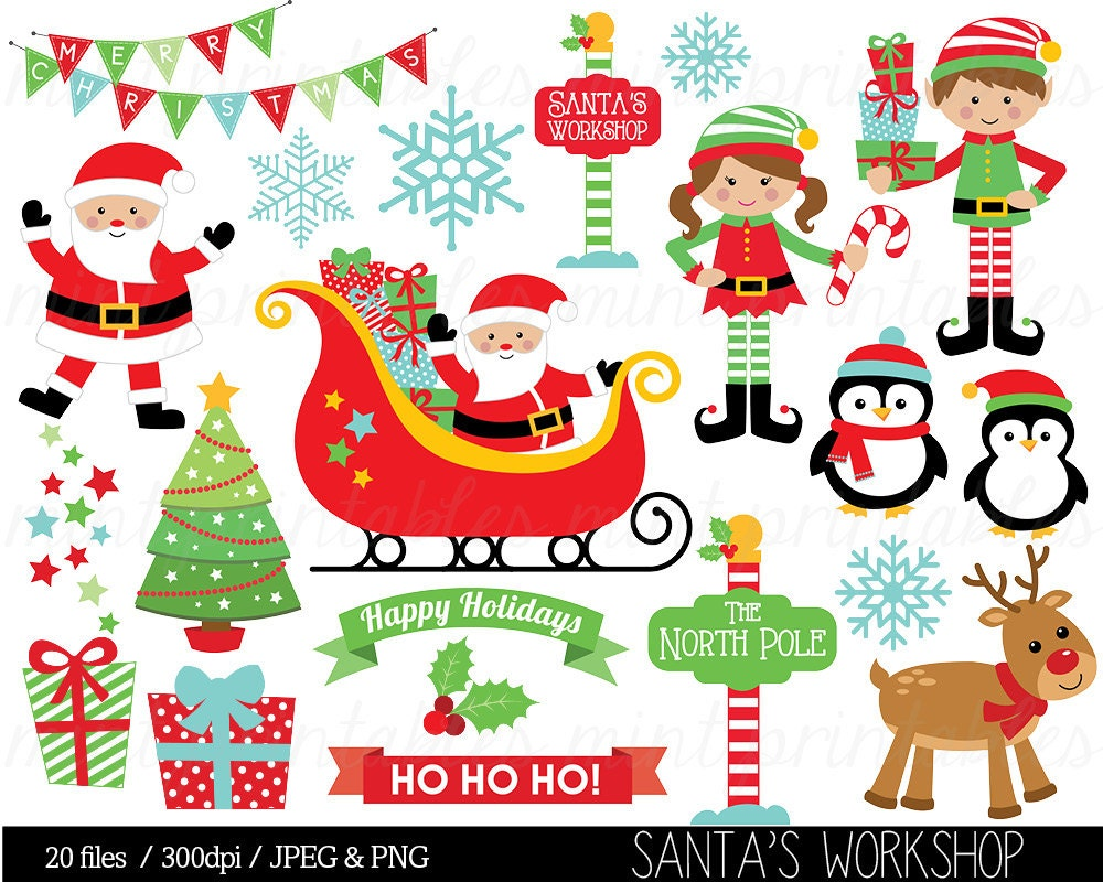 Clip Art of Santa Claus with Elves