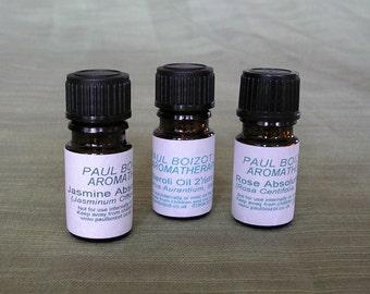 Jasmine, Rose, Neroli essential oils, various sizes