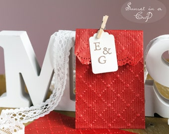 10 Red embossed bags