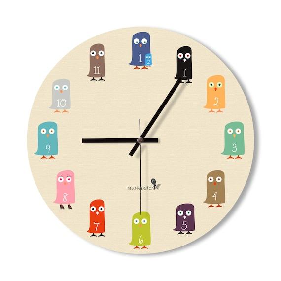 murale horloge b b hibou horloge hibou mignon horloge. Black Bedroom Furniture Sets. Home Design Ideas