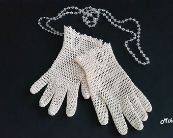 Bridal Crochet Gloves, Ivory, 100% Mercerized Cotton.