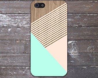 Mint Champagne Pink Striped Wood Case, iPhone X, iPhone 7 Plus, Tough iPhone Case, Galaxy s8, Samsung Galaxy Case Note 8 Printed CASE ESCAPE