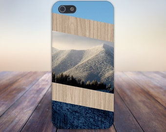 Snowy Mountains x Diagonal Striped Wood Design Case for iPhone 6 6 Plus iPhone 7  Samsung Galaxy  & s7 and Note 5  S8 Plus Phone Case