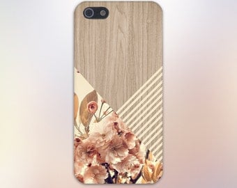 Romantic Flowers Beige Stripes Wood Print Case,iPhone 7, iPhone 7 Plus, Tough iPhone Case, Galaxy s8, Samsung Galaxy Case Note 5 CASE ESCAPE