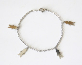 Stainless steel chain BRACELET and 4 children silhouettes
