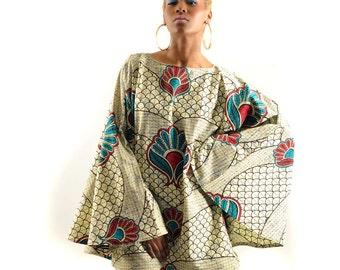New Babydoll Mini Dress Bell Sleeves Ankara African Wax Dress S-M