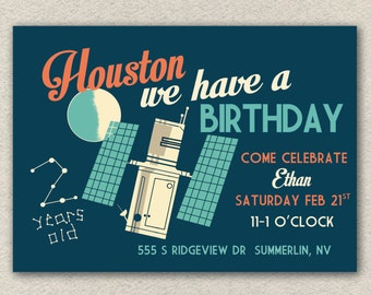 Retro Space Invitation Printable