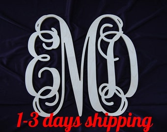 SALE 24 inch wooden monogram nursery decor wall hanging Wedding guest book wreath Unpainted