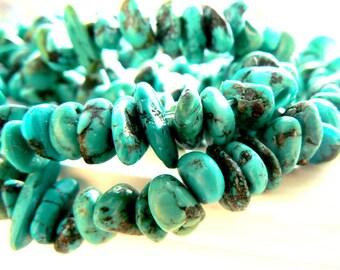 Tibet turquoise beads. 7-10mm -Jewelry beads supply-Gemstone beads 4in strand.