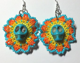 "Beaded Earrings ""Dia de los Muertos"""