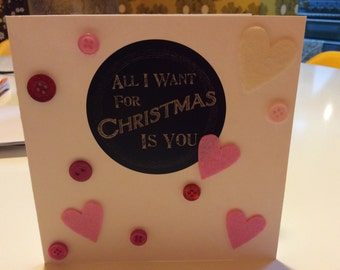 Hearts and buttons 'All I Want For Christmas Is You' gift card.