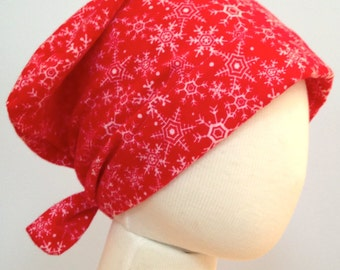 Jaye Children's Flannel Head Cover, Girl's Cancer Headwear, Chemo Scarf, Alopecia Hat, Head Wrap for Hair Loss - Red Snowflakes