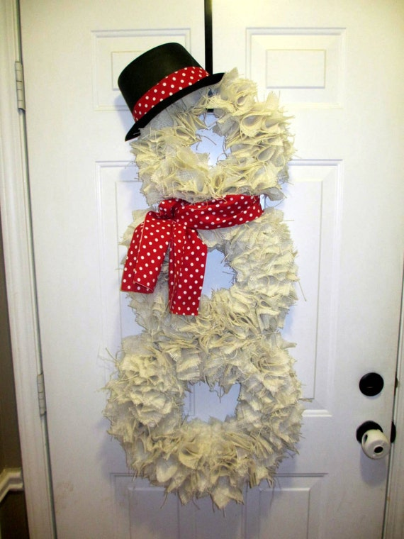 Unavailable listing on etsy for Burlap snowman wreath