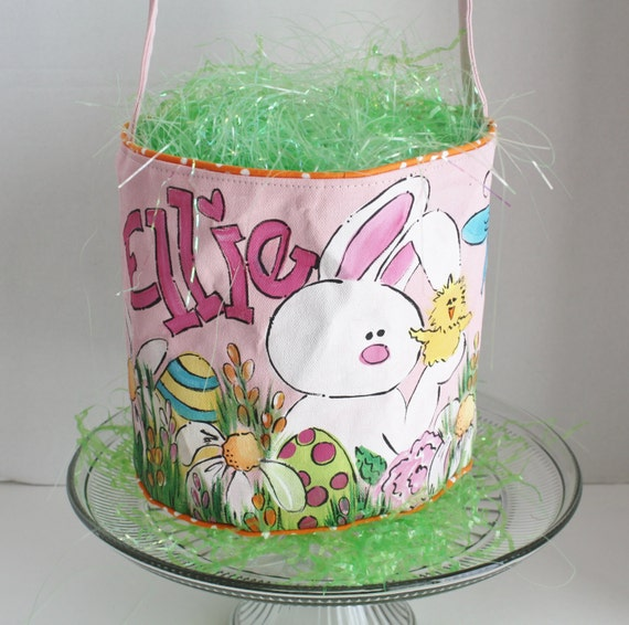 Easter Basket Personalized Hand Painted Pink Bunny And