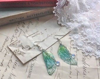 "Rather pretty Small  ""Blue Faerie wing earrings"""