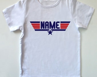 TOP GUN Personalized Children's / Kids / Toddler T-Shirt - Size 1-2T / 2-3T (Any Name) 80's