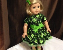 American Girl Doll Dress Irish, Glitter Shamrock Pattern, Green Dress