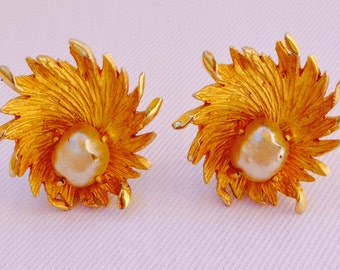 Striking Benedikt N.Y. Faux Pearl and Gold Tone Large Statement Clip Earrings - Bridal Jewelry, Mother of the Bride, Gift