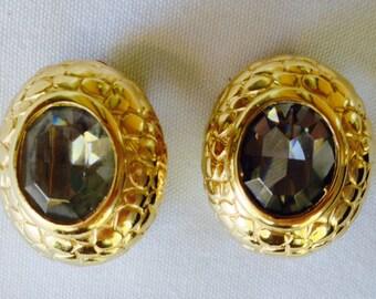 Carolee Clip Earrings-Smokey Topaz Gold Tone Earrings- Wedding- Clip-Designer Signed Earrings