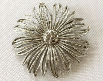 Silver Tone Flower Brooch - Vintage Wedding Flower Pin- Mother of the Bride Brooch- Statement Brooch- Bridesmaid Flower- Wedding Bouquet