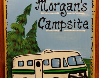 RV Motorhome CAMPER SIGN Personalized Name Camp Camping Travel Trailer Plaque Handcrafted Hand Painted
