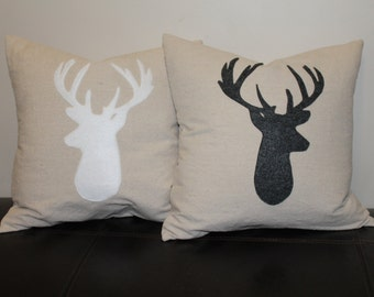 Deer Silhouette Pillow Cover