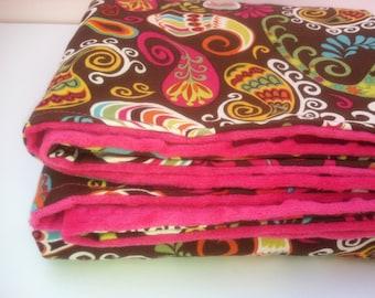 Boho baby blanket - Baby girl paisley blanket - Pink minky baby blanket