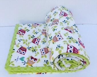Modern baby blanket - Owl baby blanket - Baby boy blanket - Minky baby blanket - Cotton baby boy blanket