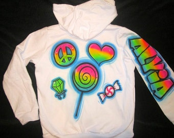 Airbrushed rainbow peace love candy design