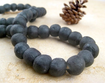 Black Recycled Glass Beads: World's Most Eco-Friendly Beads! Ghana Beads - African Beads - Wholesale Glass Beads - Made of Bottles 559