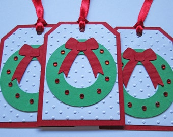 Wreath Christmas Gift Tags - Christmas Tags - Holiday Gift Tags - Christmas Gifts - Christmas Wrapping - Christmas Gift Wrap - Set of 6