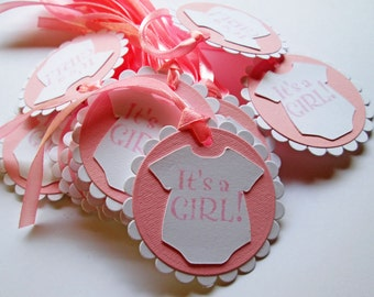 20 Pink Baby Shower Gift Tags, It's a Girl, Baby Girl, Favor Tag, Party Favor, Pink, Baby Shower Gift Tags, Favors