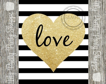 8x10 Gold Glitter Love Printable / Valentine's Day / Sign / Art *INSTANT DOWNLOAD*