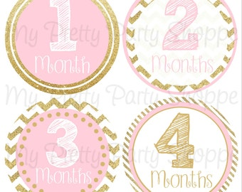 "4"" Pink & Gold Glitter Printable Baby Month Sticker, Baby Monthly Sticker, Baby Milestone Stickers, Baby Girl, Chevron *INSTANT DOWNLOAD*"