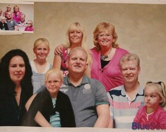 Custom oil portrait-Family oil portrait-Eight people/Figures
