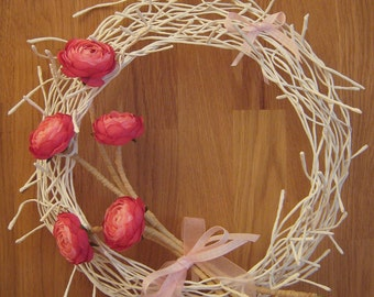 25cm Pink Floral Wreath. Home Decor. Mother's Day. Easter.