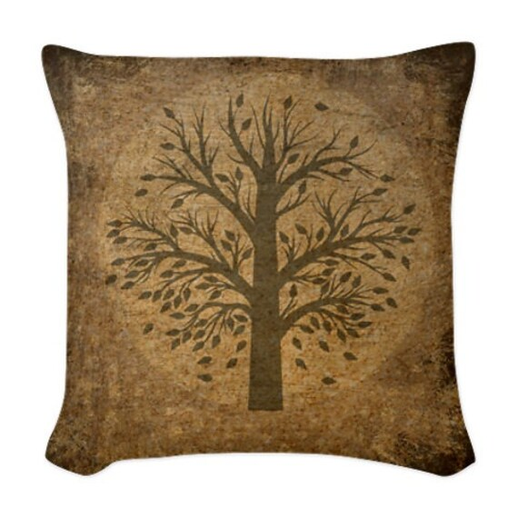Items similar to Throw Pillow Primitive Grunge Tree 16 x 16 on Etsy