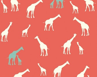 Organic Crib/Toddler fitted bed sheet, birch serengeti, giraffes, red-coral-mint