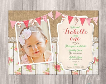 Girl First Birthday Invitation, Shabby Chic Birthday Invitation, Burlap Birthday Invitation, 1st Birthday Invitation, Printable Invite