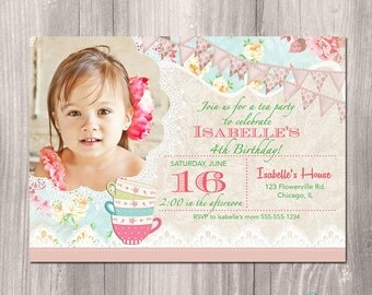 Tea Party Birthday Invitation, Tea Party Invitation, Shabby Chic Birthday Invitation, Printable Tea Party Invitation, Printable Invitation